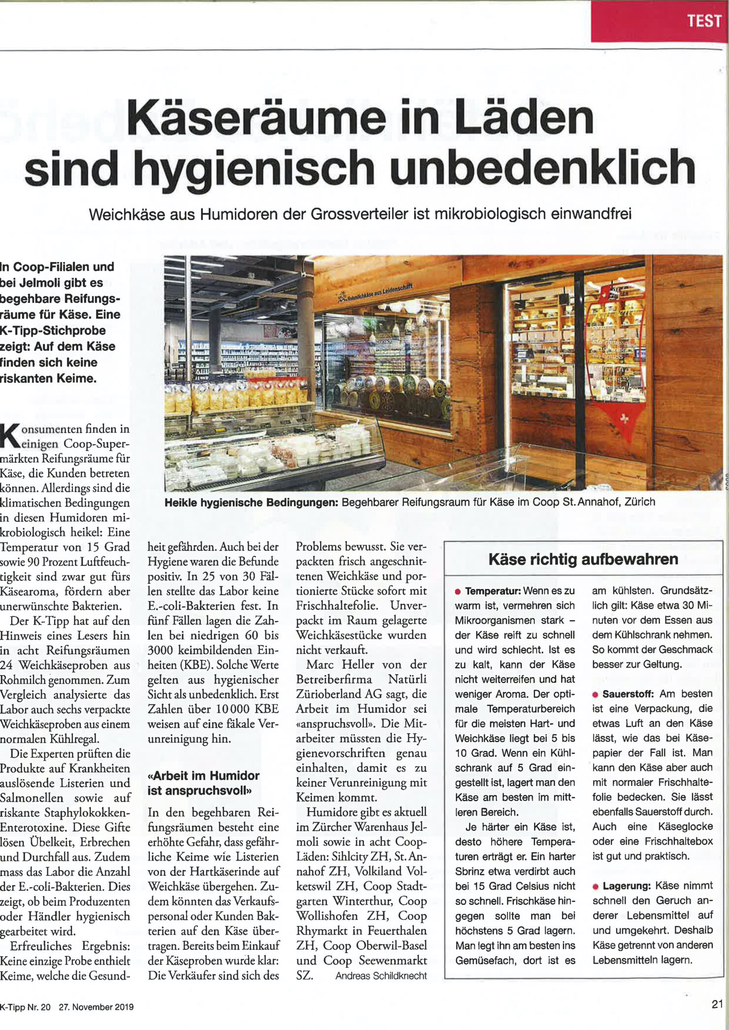 Hygiene Käsehumidor - K-Tipp 27.11.2019